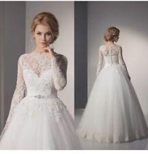 UK White/ivory Plus Size Lace Long Sleeve Wedding Dress Bridal Gown  Size 6-26