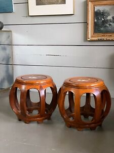 Vintage Pair Of Chinese Wood Mother of Pearl Barrel Stool / Side Tables