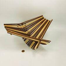 Mid Century Modern MCM Basket Bowl Fruit Display Bamboo Teak Folding Decor Wood