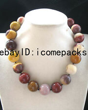 """BIgger! egg agate stone round yellow  20mm necklace 17.8"""" nature beads wholesale"""