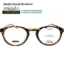MIASTO MULTI-FOCAL (NO LINE BIFOCAL) COMPUTER READER READING GLASSES +2.50 BROWN