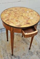 19 C FRENCH INLAID MARBEL TOP ROUND LAMP TABLE WITH A DRAWER     RARE