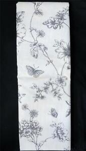 Lenox Grey Toile Floral Butterflies Vinyl Flannel Back Rect or Round Tablecloth