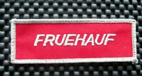 """FRUEHAUF EMBROIDERED SEW ON PATCH TRAILERS ADVERTISING TRUCKING 4"""" x 1 1/4"""""""