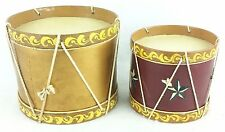 """Lot of 2 Tin Toy Display Marching Snare Drums 5"""" x 6"""", 4.5"""" x 3.75"""""""