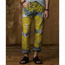 Denim Supply Ralph Lauren Men Vtg Floral Paint Artwork Ripped Distressed Jeans
