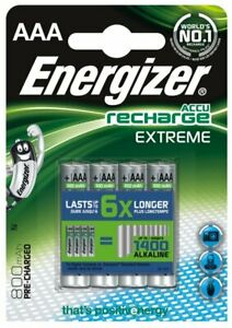4 X Energizer R03 / AAA NI-MH 800mAh Extreme Rechargeable Batteries (Blister)