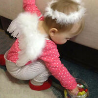 Hot Toddler Infant Baby White Angel Wings Costume Photo Photography Props Outfit