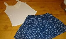 Abercombie & fitch outfit blue flowery skirt size M & white top size L
