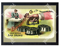 Historic Enterprise MFG Co. Cold Handle Sad Irons Advertising Postcard