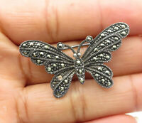 925 Sterling Silver - Vintage Marcasite Decorated Butterfly Brooch Pin - BP4049