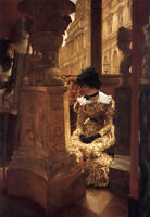 """Perfect Oil painting Joseph Tissot - young woman In the Louvre Enjoying art 36"""""""