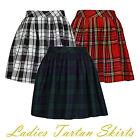 Ladies Womens Elasticated Waist Tartan Skater Skirt UK Size 6-14