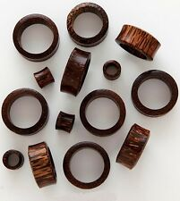 "Pair 9/16"" 14mm Palm Tree Organic Solid Exotic Wood Tunnels Plugs Ear Gauges 652"
