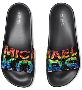 NIB Size 9 Michael Kors Gilmore Rhinestones Rainbow Pride Slide Sandals Black