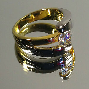 Modern, Gold-Silver Engagement-like Ladies Ring, Large Cubic Zirconia stones NEW