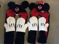 New Disney Parks Mickey & Minnie Mouse Plush Ears With Long Sides With Gloves