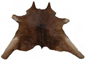 "Cowhide Rugs Calf Hide Cow Skin Rug (32""x35"") Brown White CH6023"