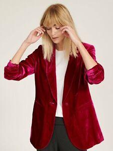 NRYB Velvet Silk BlendJacket Dark Pink RRP £250 Size L NEW