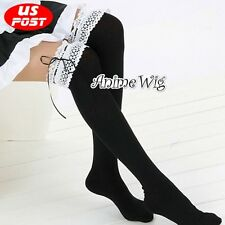 Lolita Women Costume Maid Black Hosiery Lace Cosplay Thigh-High Stockings Socks