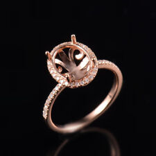Natural Diamond Semi Mount Halo Engagement Ring Set Oval 8x10mm 14K Rose Gold