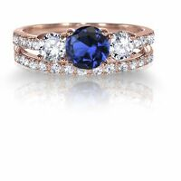 14k Rose Gold Plated Round Blue Sapphire Engagement Wedding CZ Silver Ring Set