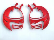 Pair (2 Emblems) Red Updated Head Emblems fit Dodge Challenger Charger Scat Pack
