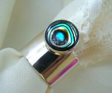 DDD  Taxco. The Best, 925  Sterling Silver Abalone! Size 7 1/2  SHARP & New!!