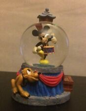 Vintage DISNEY Marching Band MICKEY Mini Miniature SNOWGLOBE Pluto - Blue/Red