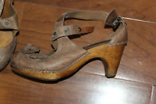 Miss Albright Anthropologie tan strappy  Leather Heels  sz 5.5