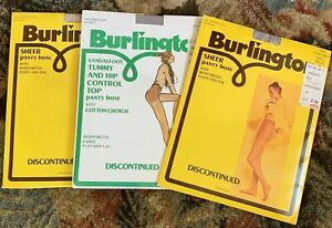 Burlington Vintage Sheer Panty Hose Size Small Dove Grey Oatmeal 3 Pairs