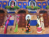 """""""Day of the Dead"""" Skeletons Mexican Multicolored Fabric 57"""" Wide."""