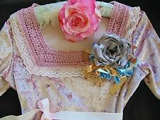 Vintage Velvet 1970s Pink Shabby Chic Faerie Top with Shabby Chic Flower sz 10