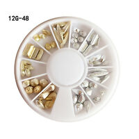 Gold Silver Nail Studs 3D Nail Art Decoration in Wheel Mixed Shape Decor Tips