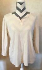 XL NorthCrest Women's Ivory 3/4 Sleeve Blouse Top Shirt V Neck