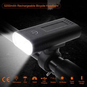 2020 IPX5 Waterproof Bike Bicycle Light 5200mAh TypeC USB Rechargeable Headlight