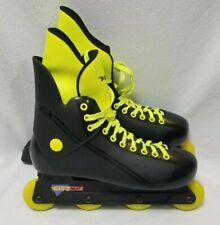 Vintage 1990 Variflex City Heat Inline Skates Roller Blades Black Yellow Size 11