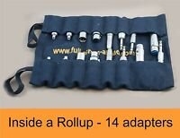 A Rollup of XLR Audio Adaptors to TRS RCA XLR in canvas case