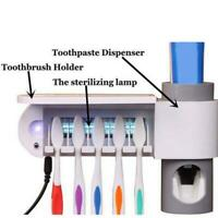Automatic Toothpaste Dispenser + 5 Toothbrush Sterilizer Holder Wall Mount Stand