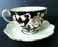 Black Paragon Tea Cup And Saucer Cream Yellow Double Warrant Teacup and Saucer