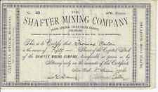 COLORADO 1886 The Shafter Mining Company Stock Certificate Idaho Springs #20