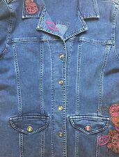 Christopher Banks Women Blue Jean Long Sleeve Embroidery Flowers Med Wash Sz Med