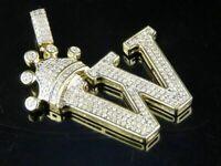 "1 Ct Diamond Round Cut Initial ""W"" King Crown Pendant 14k Yellow Gold Finish"