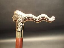 "37"" Vintage Antique Style, Brass Lady Head Wood Victorian Walking Stick Cane"