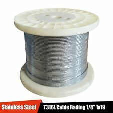 """Stainless Steel T316 Cable Railing 1/8"""" 1x19: 50, 100, 200, 250, 500, 1000 ft"""
