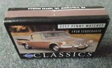 Penny Match Box 1958 Studebaker Golden Hawk NOS Matches 289 Supercharger Packard