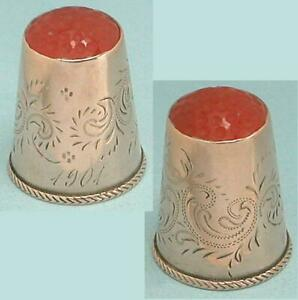 Antique Carnelian Stone Top 10 Kt Gold Thimble * Scandinavian * Dated 1901
