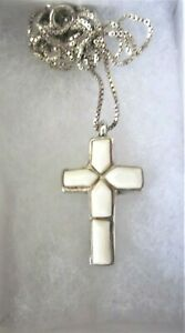 """Sterling and White Stone/Shell Cross Pendant with 17"""" Sterling Silver Chain"""