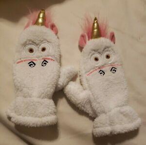 Despicable Me Girls Fuzzy White Unicorn Gloves Mittens