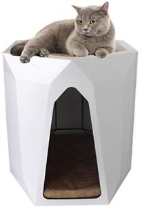 Pet Tower,  Cat House, Indoor 2-Tier Hexagon White, 50 x 48 x 48 cm